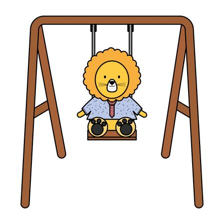 cute lion in swing character vector illustration design