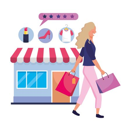 Woman shopping online design, Store ecommerce media market and internet theme Vector illustration