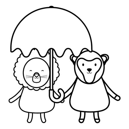 cute lion and monkey with umbrella childish characters vector illustration design Çizim