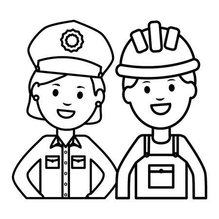 female police officer with builder vector illustration design Archivio Fotografico - 129590001