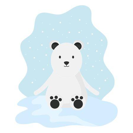 cute polar bear in snowscape childish character vector illustration design