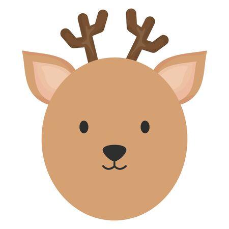 cute reindeer head childish character vector illustration design Çizim