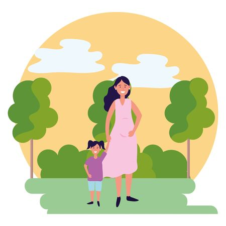 pregnant woman with child avatar cartoon character outdoor rural landscape round icon vector illustration graphic design
