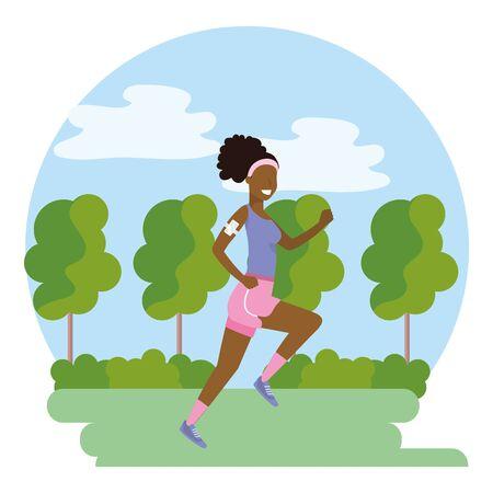 woman running with sportswear avatar cartoon character park landscape vector illustration graphic design Ilustracja
