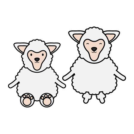 cute sheeps couple childish characters vector illustration design Çizim