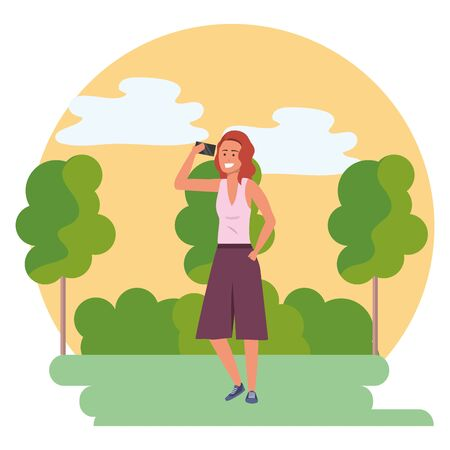 Millenial person stylish outfit using smartphone texting conversation redhead nature background round frame trees bushes vector illustration graphic design Stock Illustratie