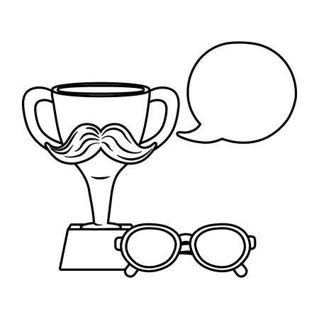 trophy with moustache icon cartoon with glasses and speech bubble black and white vector illustration graphic design