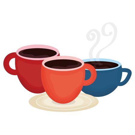 coffee cups drinks icons vector illustration design Ilustração