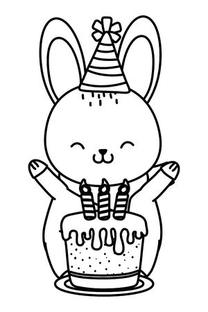 cute little animal rabbit at birthday party festive scene cartoon vector illustration graphic design