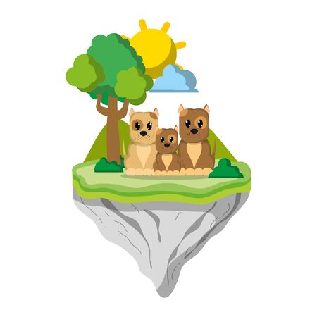 family dog animal in float island vector illustration