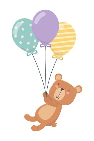 Teddy bear and balloons design, Childhood play fun kid cartoon game and object theme Vector illustration Stock Illustratie