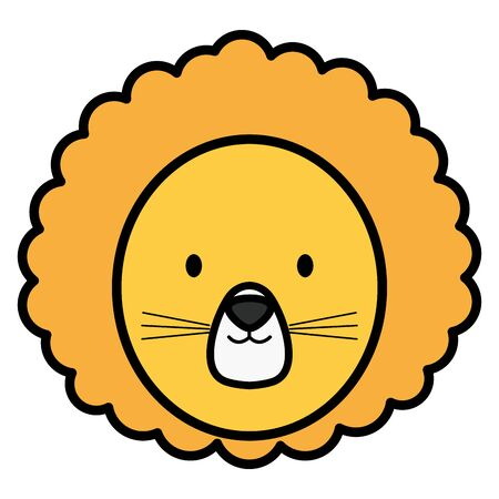 cute lion childish character vector illustration design