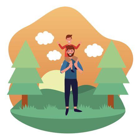 man carrying a child avatar cartoon character park landscape vector illustration graphic design