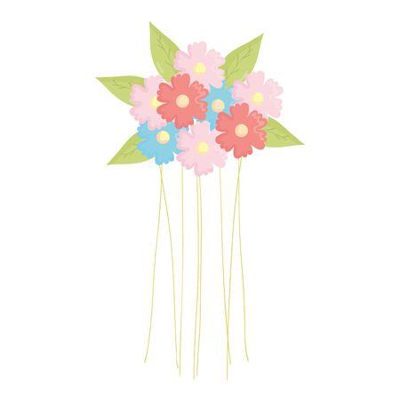 beautiful flowers garden decoration vector illustration design