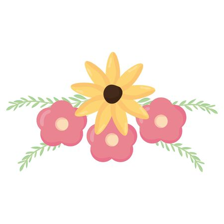 flowers and leafs decoration vector illustration design Çizim
