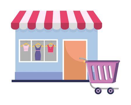 Store design, shopping online ecommerce media market and internet theme Vector illustration