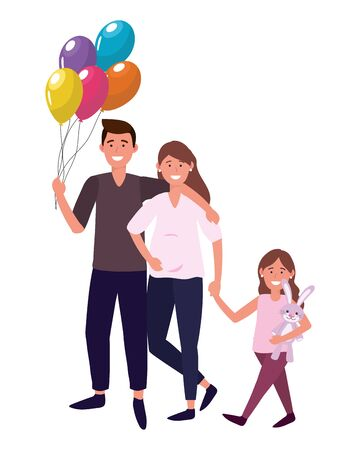couple with child avatar cartoon character with bunny toy and balloons vector illustration graphic design Illusztráció