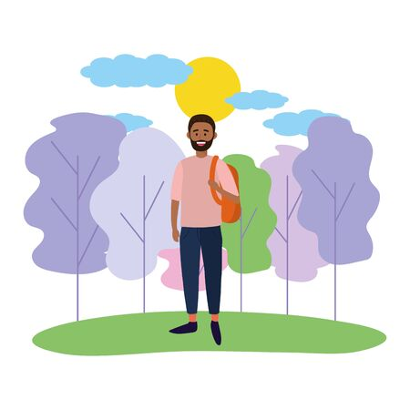 young happy man wearing backpack at nature park cartoon vector illustration graphic design Foto de archivo - 129797512