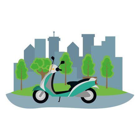 transportation concept scooter motorcycle in front city landscape cartoon vector illustration graphic design Foto de archivo - 129797573