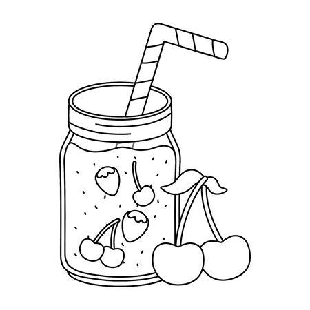 delicious tasty refresh red fruits juice jar cartoon vector illustration graphic design