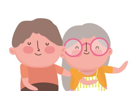 Grandmother and grandfather cartoon design, Old person grandparents avatar senior and adult theme Vector illustration
