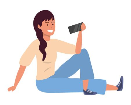Millennial person stylish outfit sitting using smartphone taking selfie texting caucasian isolated vector illustration graphic design 일러스트