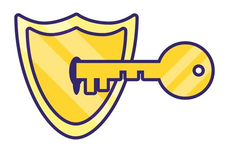 security icon shield with key cartoon vector illustration graphic design