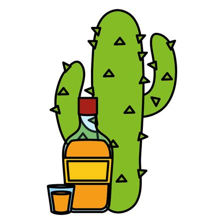 mexican cactus plant with tequila bottle vector illustration design