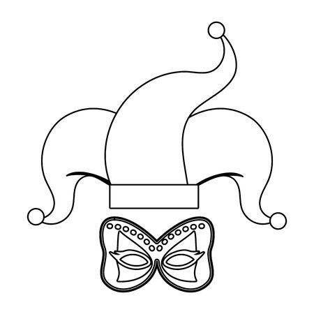 carnival mask with jester hat cartoon vector illustration graphic design Stock Illustratie