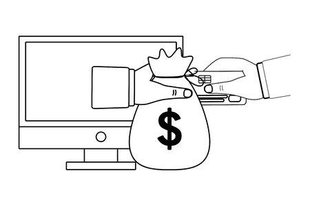 Computer design, Store shopping online ecommerce media market and internet theme Vector illustration