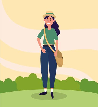 university woman wearing hat and casual clothes vector illustration