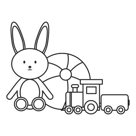 little train with bunny toys vector illustration design