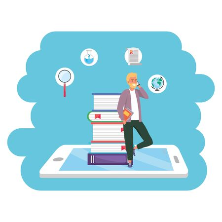 Online education millennial student bearded blond wearing jacket tablet and book stack background young person career search splash frame vector illustration graphic design Stock Illustratie