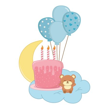 birthday cake with candles and toy bear over cloud and moon hanging from balloons vector illustration graphic design