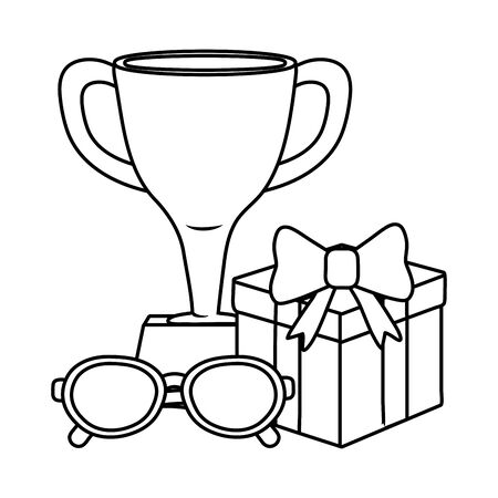 trophy with gift box and glasses black and white