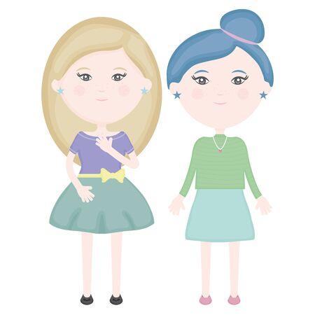 cute little girls couple characters Standard-Bild - 129796267