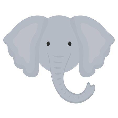 cute elephant head childish character vector illustration design Stock Illustratie