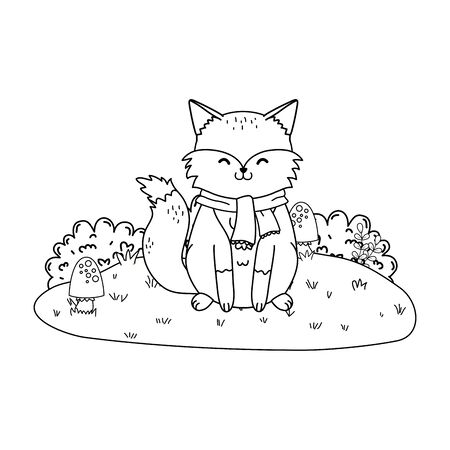 cute fox in the field woodland character vector illustration design 向量圖像