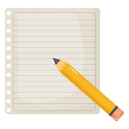 sheet of notebook paper with pencil Stok Fotoğraf - 129796307