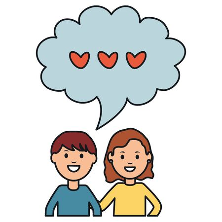 young couple with speech bubbles and hearts