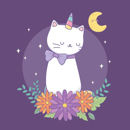 cute cat unicorn with floral decoration at night Illustration