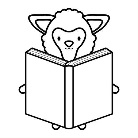cute sheep reading book childish character vector illustration design