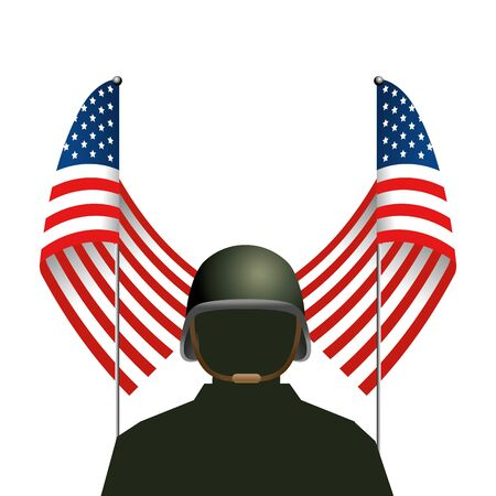 united state flag with soldier and helmet Ilustrace