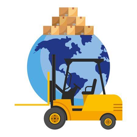 lift truck and globe Иллюстрация