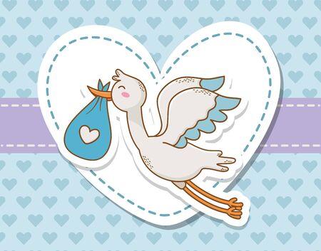 baby shower card with stork Standard-Bild - 129796473