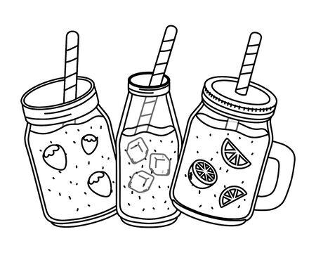 tasty refresh drinks cartoon Ilustrace