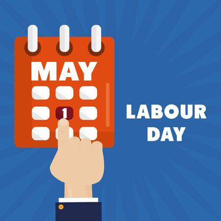 calendar reminder with hand index labour day vector illustration design  イラスト・ベクター素材