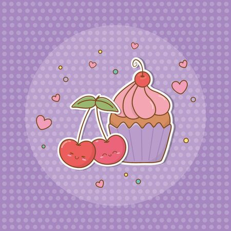 sweet cupcake and cherries stickers cute style