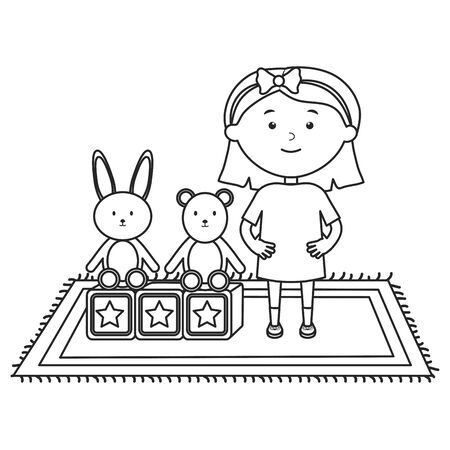 cute little girl with bear teddy and rabbit vector illustration design