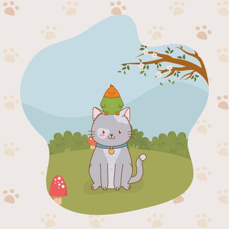 cute little kitty and parrot mascots vector illustration design